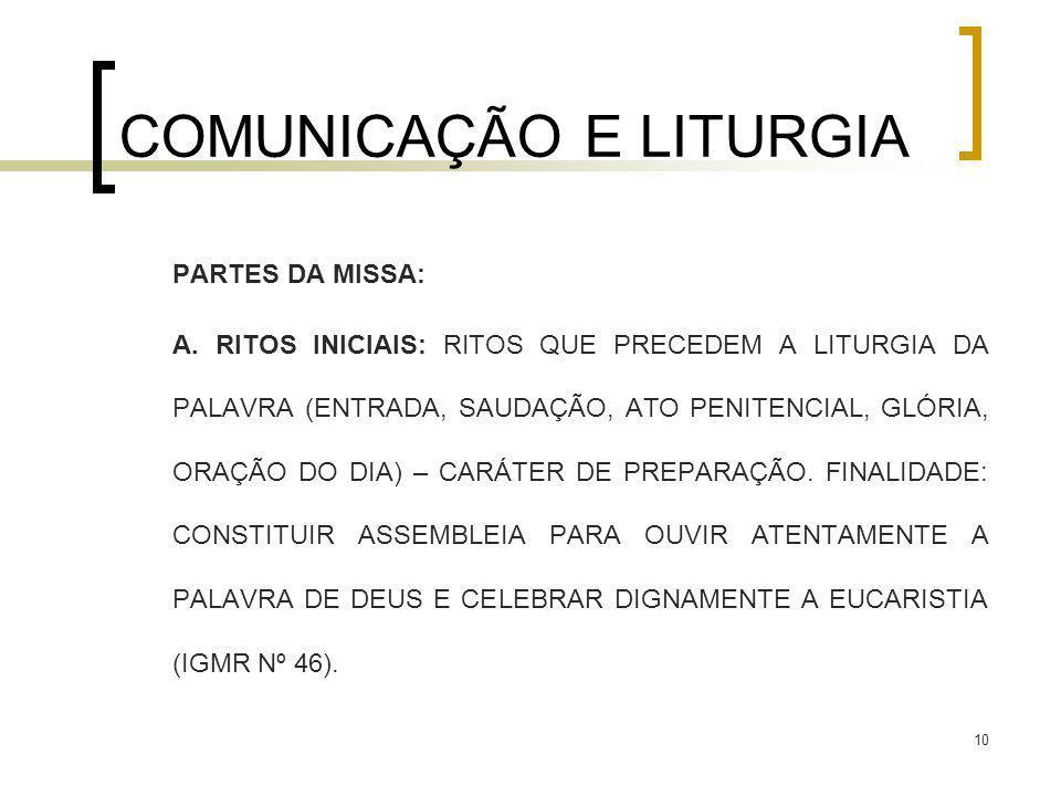 10 COMUNICAÇÃO E LITURGIA PARTES DA MISSA: A. RITOS INICIAIS: RITOS QUE PRECEDEM A LITURGIA DA PALAVRA (ENTRADA, SAUDAÇÃO, ATO PENITENCIAL, GLÓRIA, OR