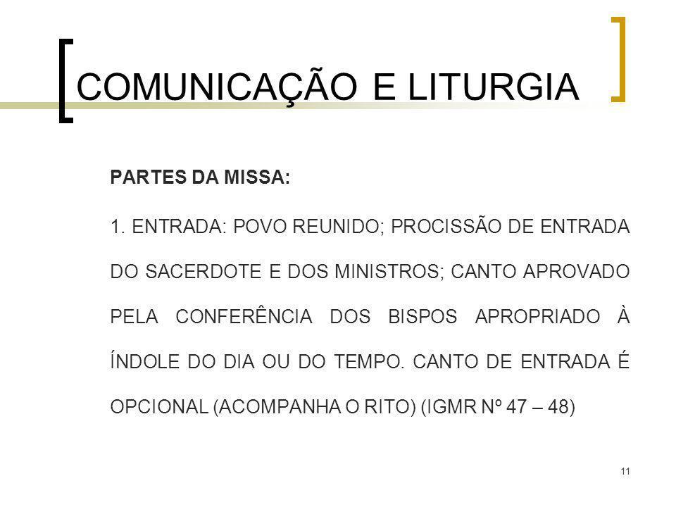 11 COMUNICAÇÃO E LITURGIA PARTES DA MISSA: 1. ENTRADA: POVO REUNIDO; PROCISSÃO DE ENTRADA DO SACERDOTE E DOS MINISTROS; CANTO APROVADO PELA CONFERÊNCI