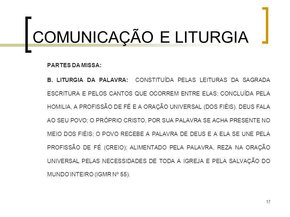 17 COMUNICAÇÃO E LITURGIA PARTES DA MISSA: B. LITURGIA DA PALAVRA: CONSTITUÍDA PELAS LEITURAS DA SAGRADA ESCRITURA E PELOS CANTOS QUE OCORREM ENTRE EL