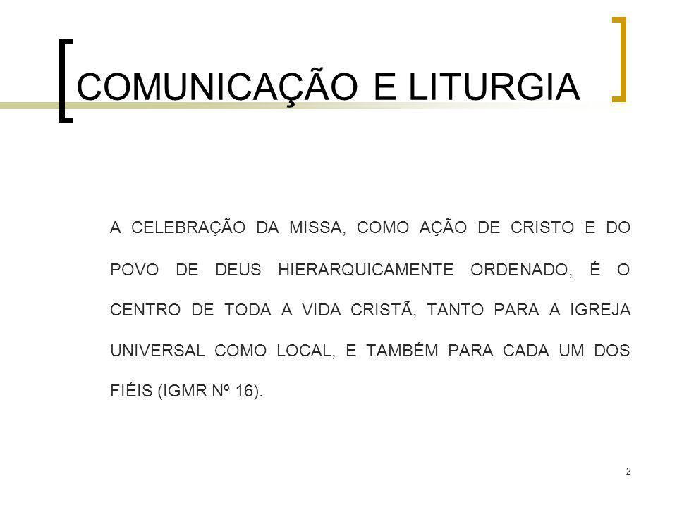 2 COMUNICAÇÃO E LITURGIA A CELEBRAÇÃO DA MISSA, COMO AÇÃO DE CRISTO E DO POVO DE DEUS HIERARQUICAMENTE ORDENADO, É O CENTRO DE TODA A VIDA CRISTÃ, TAN