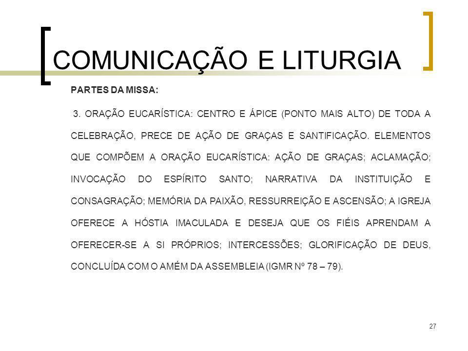 27 COMUNICAÇÃO E LITURGIA PARTES DA MISSA: 3. ORAÇÃO EUCARÍSTICA: CENTRO E ÁPICE (PONTO MAIS ALTO) DE TODA A CELEBRAÇÃO, PRECE DE AÇÃO DE GRAÇAS E SAN