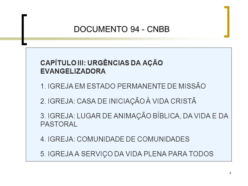 5 CAPÍTULO IV: PERSPECTIVAS DE AÇÃO ORIENTAÇÕES/RECOMENDAÇÕES PRÁTICAS CAPÍTULO V: INDICAÇÕES DE OPERACIONALIZAÇÃO ORIENTAÇÕES/RECOMENDAÇÕES PRÁTICAS CONCLUSÃO COMPROMISSO DE UNIDADE NA MISSÃO DOCUMENTO 94 - CNBB