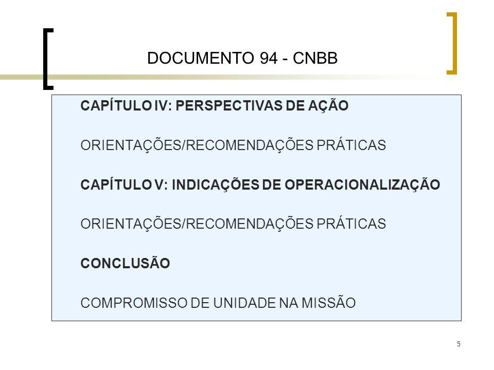 5 CAPÍTULO IV: PERSPECTIVAS DE AÇÃO ORIENTAÇÕES/RECOMENDAÇÕES PRÁTICAS CAPÍTULO V: INDICAÇÕES DE OPERACIONALIZAÇÃO ORIENTAÇÕES/RECOMENDAÇÕES PRÁTICAS