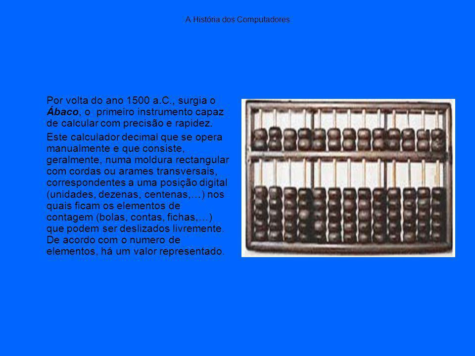 A História dos Computadores Por volta do ano 1500 a.C., surgia o Ábaco, o primeiro instrumento capaz de calcular com precisão e rapidez.