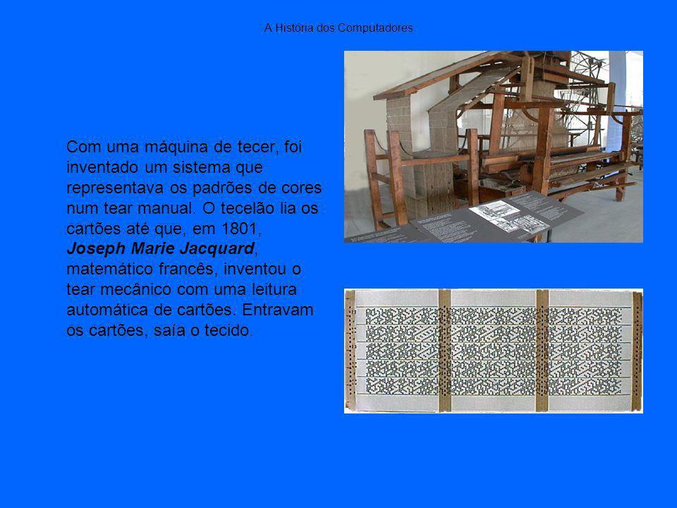 A História dos Computadores Com uma máquina de tecer, foi inventado um sistema que representava os padrões de cores num tear manual.