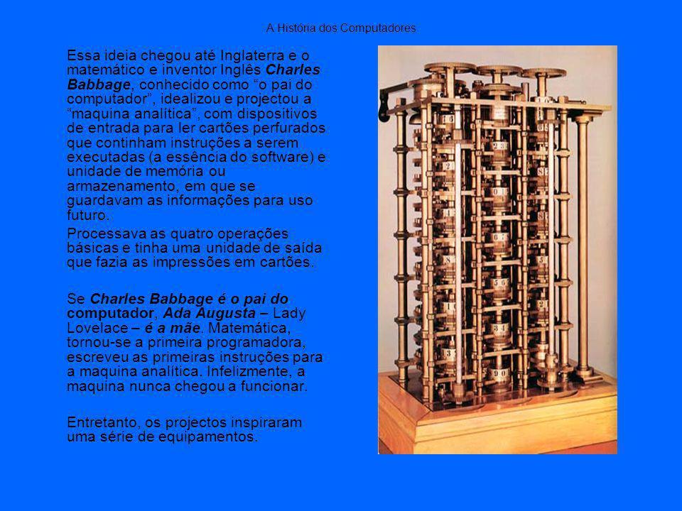 A História dos Computadores Essa ideia chegou até Inglaterra e o matemático e inventor Inglês Charles Babbage, conhecido como o pai do computador, idealizou e projectou a maquina analítica, com dispositivos de entrada para ler cartões perfurados que continham instruções a serem executadas (a essência do software) e unidade de memória ou armazenamento, em que se guardavam as informações para uso futuro.