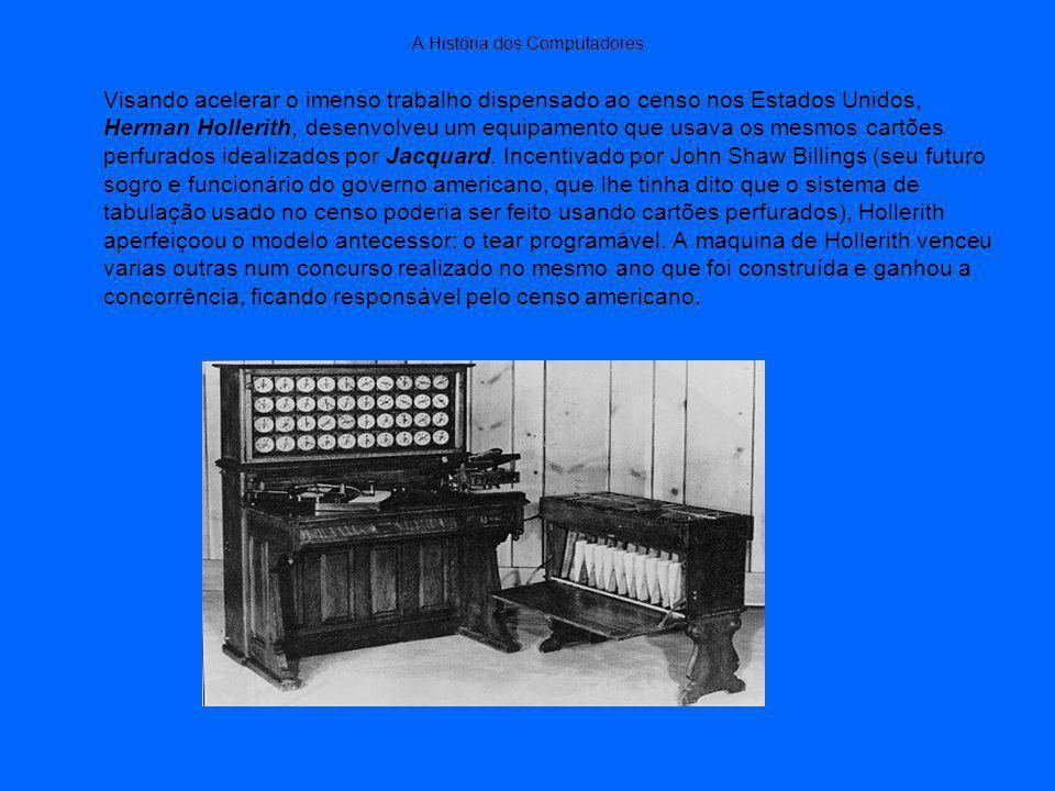A História dos Computadores Visando acelerar o imenso trabalho dispensado ao censo nos Estados Unidos, Herman Hollerith, desenvolveu um equipamento que usava os mesmos cartões perfurados idealizados por Jacquard.