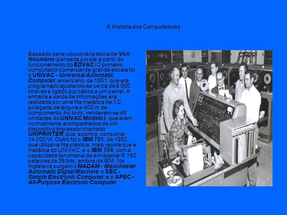 A História dos Computadores Baseado na revolucionária teoria de Von Neumann (pensada por ele a partir do funcionamento do EDVAC) O primeiro computador comercial de grande escala foi o UNIVAC - Universal Automatic Computer, americano, de 1951, que era programado ajustando-se cerca de 6.000 chaves e ligado por cabos a um painel.