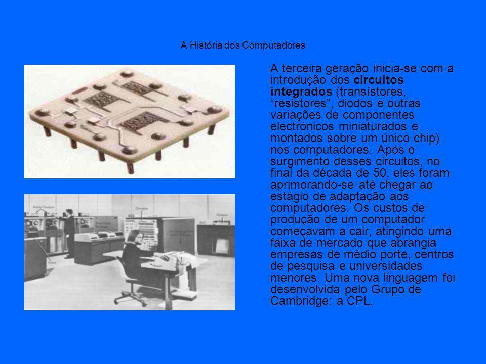 A História dos Computadores A terceira geração inicia-se com a introdução dos circuitos integrados (transístores, resistores, diodos e outras variações de componentes electrónicos miniaturados e montados sobre um único chip) nos computadores.