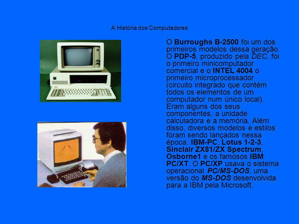 A História dos Computadores O Burroughs B-2500 foi um dos primeiros modelos dessa geração.