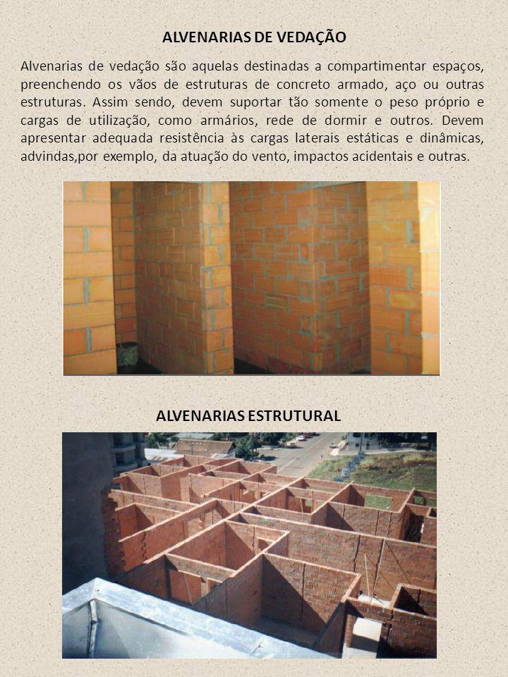 ALVENARIAS DE VEDAÇÃO Alvenarias de vedação são aquelas destinadas a compartimentar espaços, preenchendo os vãos de estruturas de concreto armado, aço