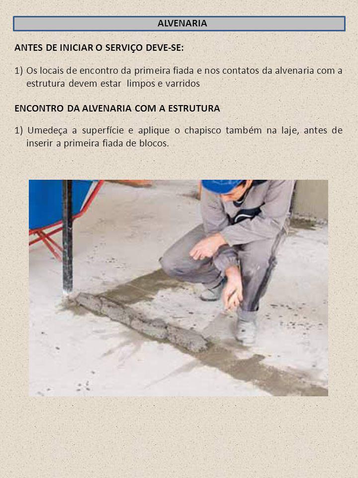 ALVENARIA ANTES DE INICIAR O SERVIÇO DEVE-SE: 1)Os locais de encontro da primeira fiada e nos contatos da alvenaria com a estrutura devem estar limpos