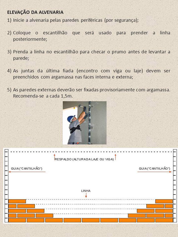 1)Inicie a alvenaria pelas paredes periféricas (por segurança); 2)Coloque o escantilhão que será usado para prender a linha posteriormente; 3)Prenda a