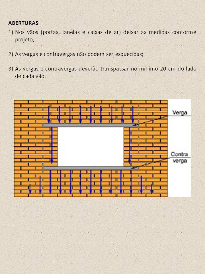 1)Nos vãos (portas, janelas e caixas de ar) deixar as medidas conforme projeto; 2)As vergas e contravergas não podem ser esquecidas; 3)As vergas e con