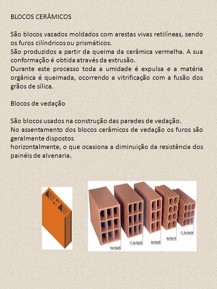 BLOCOS CERÂMICOS São blocos vazados moldados com arestas vivas retilíneas, sendo os furos cilíndricos ou prismáticos. São produzidos a partir da queim