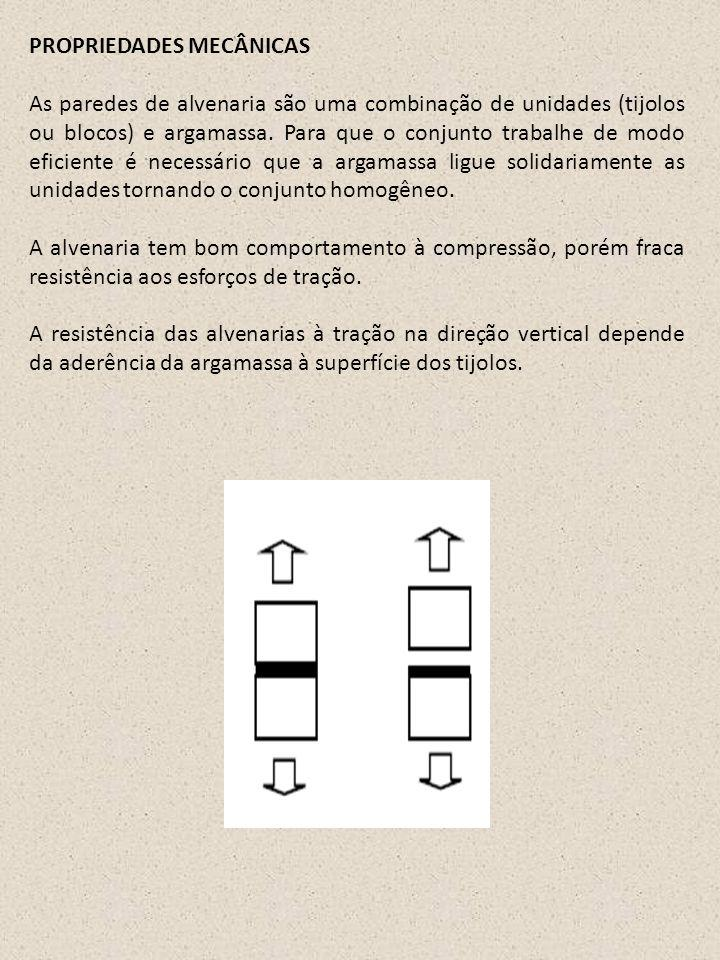 PROPRIEDADES MECÂNICAS As paredes de alvenaria são uma combinação de unidades (tijolos ou blocos) e argamassa. Para que o conjunto trabalhe de modo ef