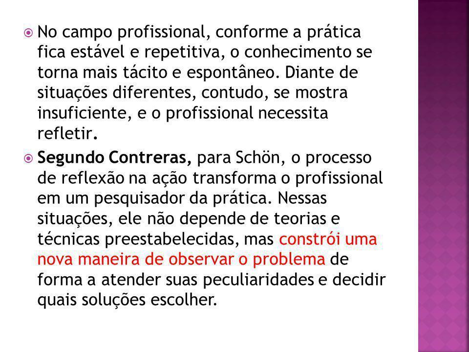No campo profissional, conforme a prática fica estável e repetitiva, o conhecimento se torna mais tácito e espontâneo.