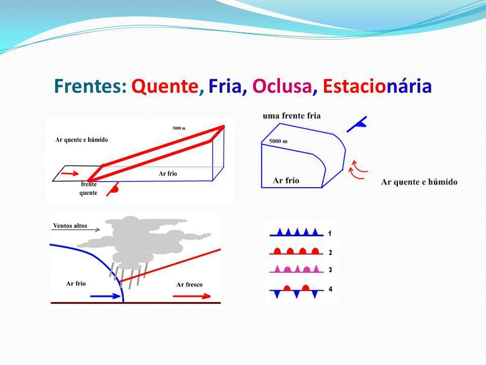 Carta Sinóptica frentes são zonas de transição entre duas massas de ar com temperaturas e densidades diferentes.