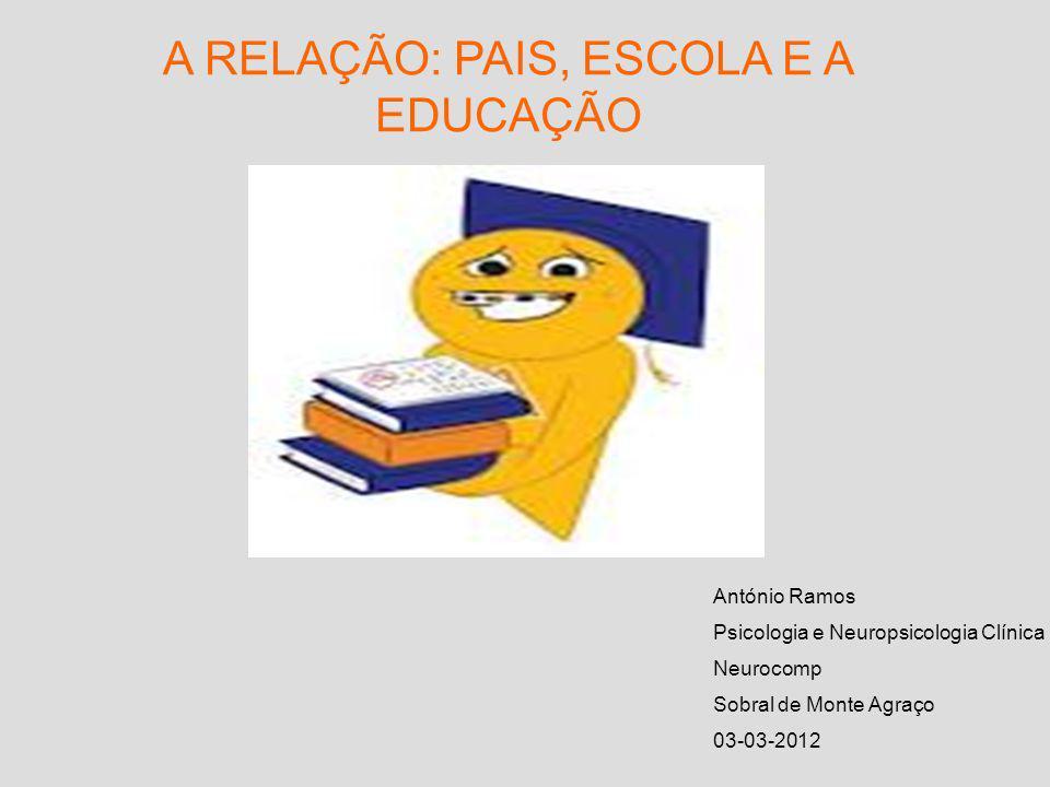 A RELAÇÃO: PAIS, ESCOLA E A EDUCAÇÃO António Ramos Psicologia e Neuropsicologia Clínica Neurocomp Sobral de Monte Agraço 03-03-2012
