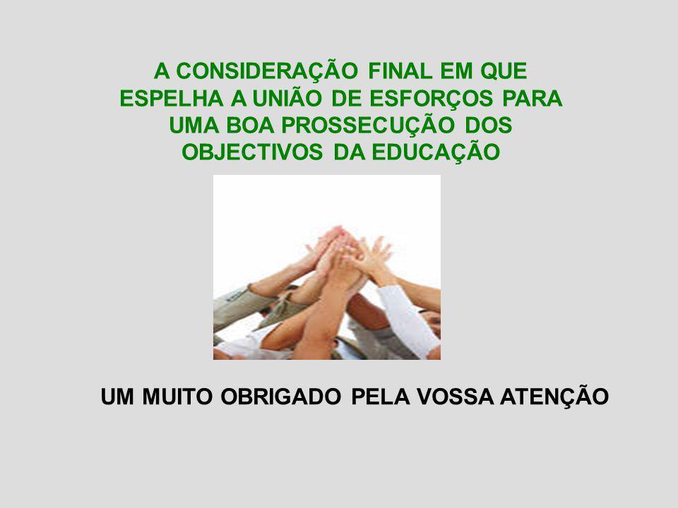 UM MUITO OBRIGADO PELA VOSSA ATENÇÃO A CONSIDERAÇÃO FINAL EM QUE ESPELHA A UNIÃO DE ESFORÇOS PARA UMA BOA PROSSECUÇÃO DOS OBJECTIVOS DA EDUCAÇÃO
