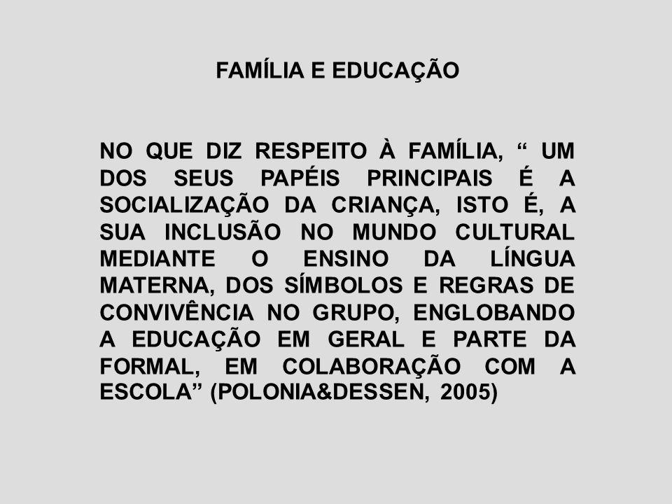 FAMÍLIA E EDUCAÇÃO NO QUE DIZ RESPEITO À FAMÍLIA, UM DOS SEUS PAPÉIS PRINCIPAIS É A SOCIALIZAÇÃO DA CRIANÇA, ISTO É, A SUA INCLUSÃO NO MUNDO CULTURAL