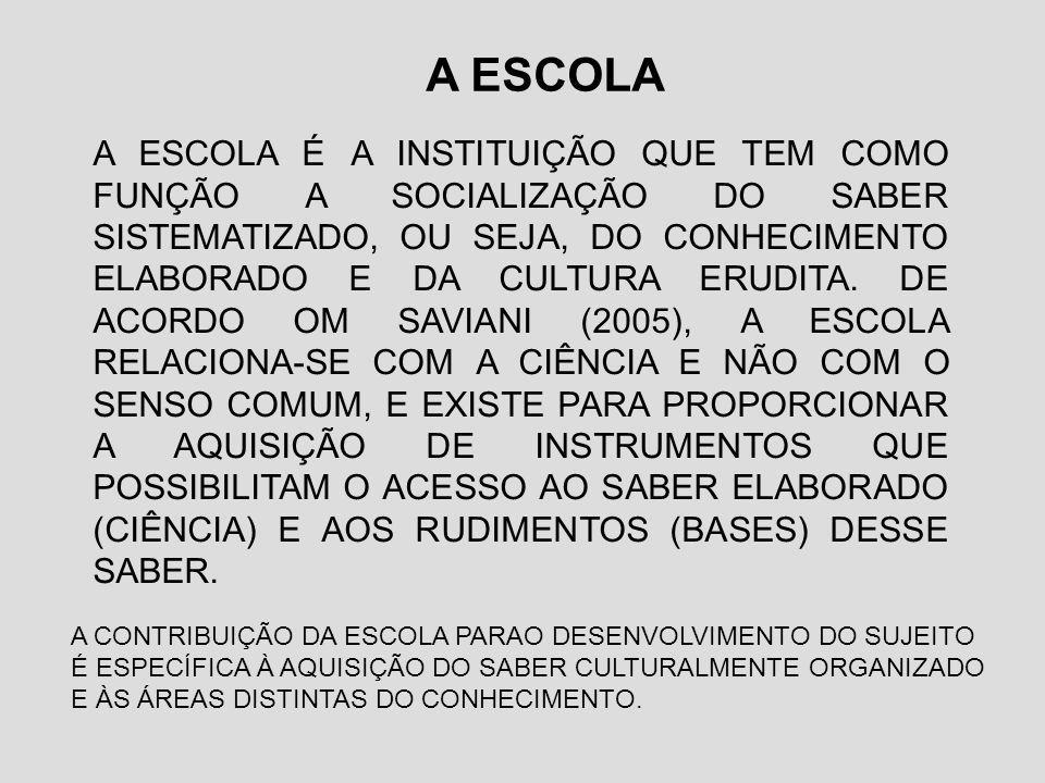 A ESCOLA A ESCOLA É A INSTITUIÇÃO QUE TEM COMO FUNÇÃO A SOCIALIZAÇÃO DO SABER SISTEMATIZADO, OU SEJA, DO CONHECIMENTO ELABORADO E DA CULTURA ERUDITA.