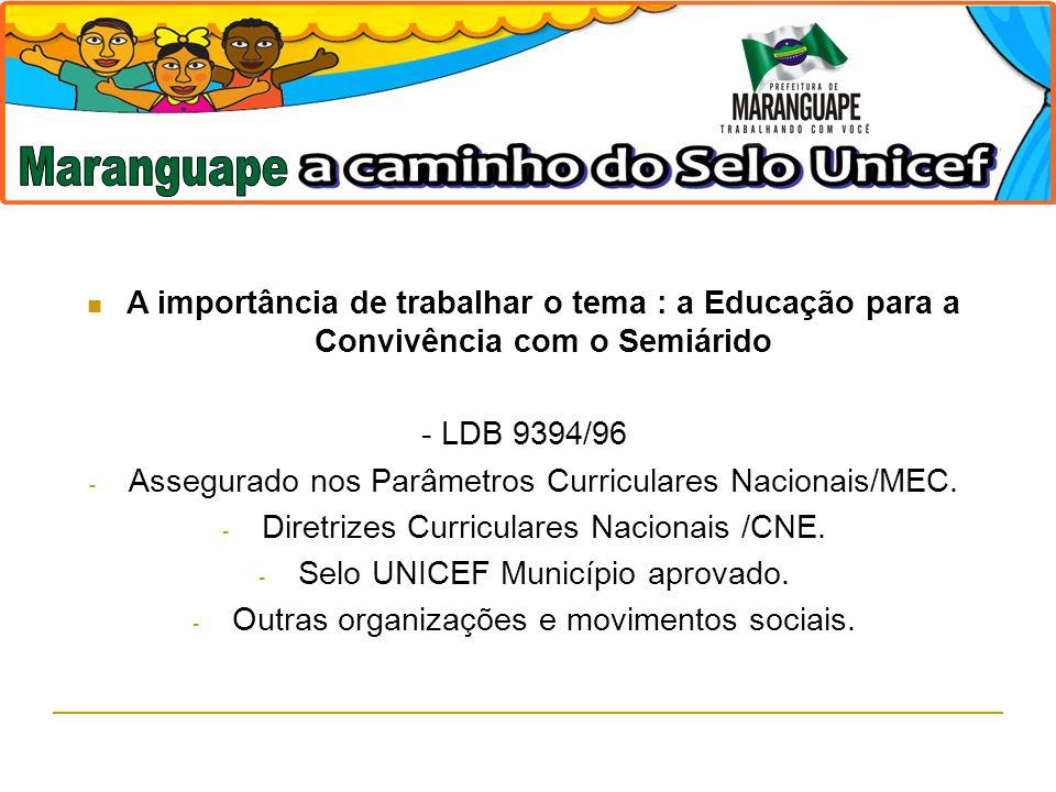 A importância de trabalhar o tema : a Educação para a Convivência com o Semiárido - LDB 9394/96 - Assegurado nos Parâmetros Curriculares Nacionais/MEC
