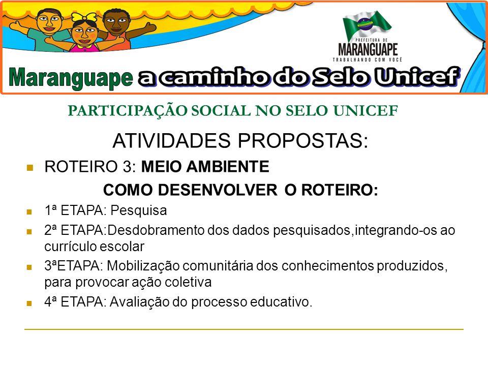 PARTICIPAÇÃO SOCIAL NO SELO UNICEF ATIVIDADES PROPOSTAS: ROTEIRO 3: MEIO AMBIENTE COMO DESENVOLVER O ROTEIRO: 1ª ETAPA: Pesquisa 2ª ETAPA:Desdobrament