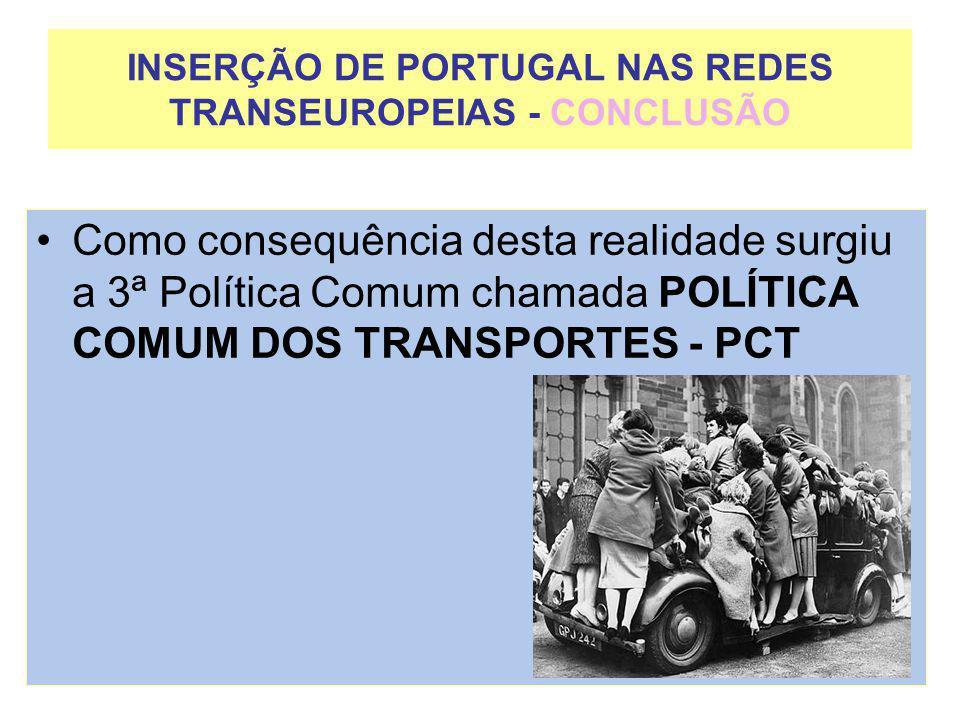 INSERÇÃO DE PORTUGAL NAS REDES TRANSEUROPEIAS - CONCLUSÃO Como consequência desta realidade surgiu a 3ª Política Comum chamada POLÍTICA COMUM DOS TRAN