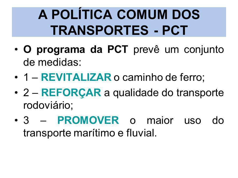 A POLÍTICA COMUM DOS TRANSPORTES - PCT O programa da PCT prevê um conjunto de medidas: 1 – REVITALIZAR o caminho de ferro; 2 – REFORÇAR a qualidade do