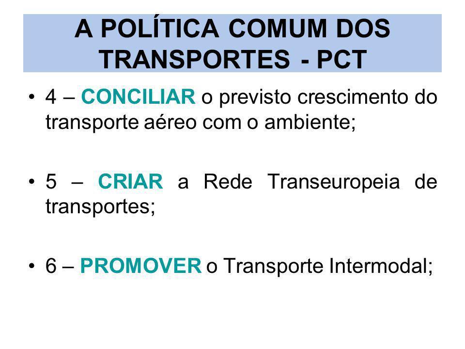 A POLÍTICA COMUM DOS TRANSPORTES - PCT 4 – CONCILIAR o previsto crescimento do transporte aéreo com o ambiente; 5 – CRIAR a Rede Transeuropeia de tran