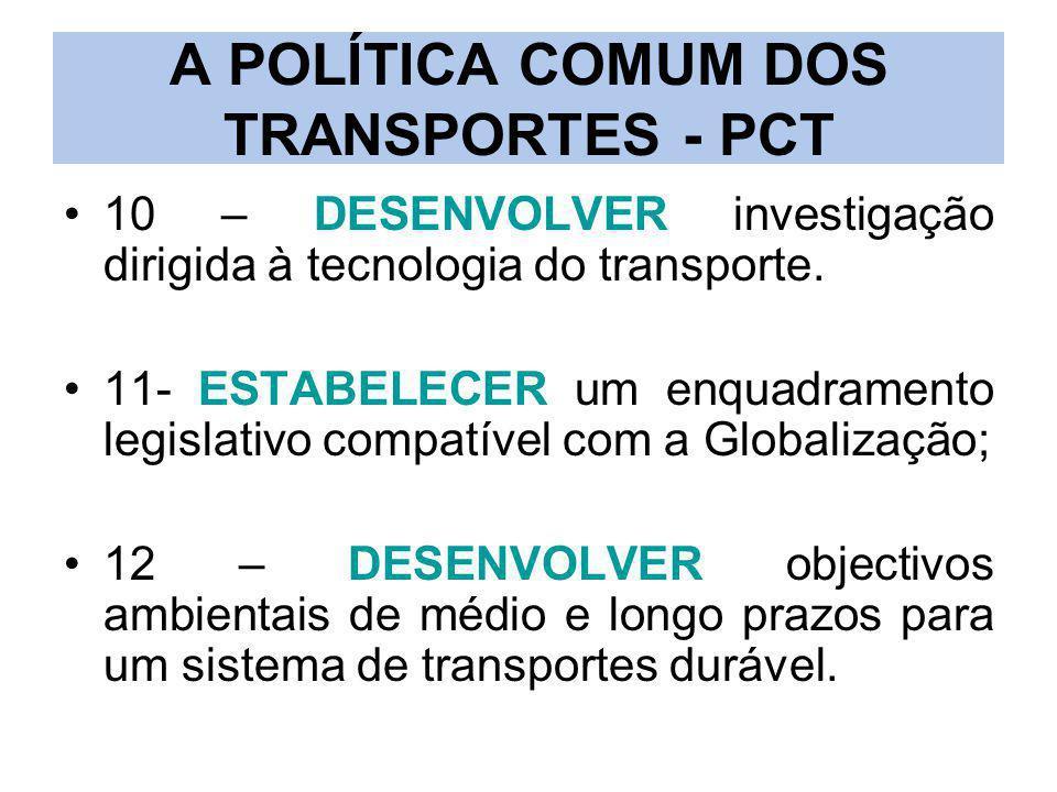 A POLÍTICA COMUM DOS TRANSPORTES - PCT 10 – DESENVOLVER investigação dirigida à tecnologia do transporte. 11- ESTABELECER um enquadramento legislativo