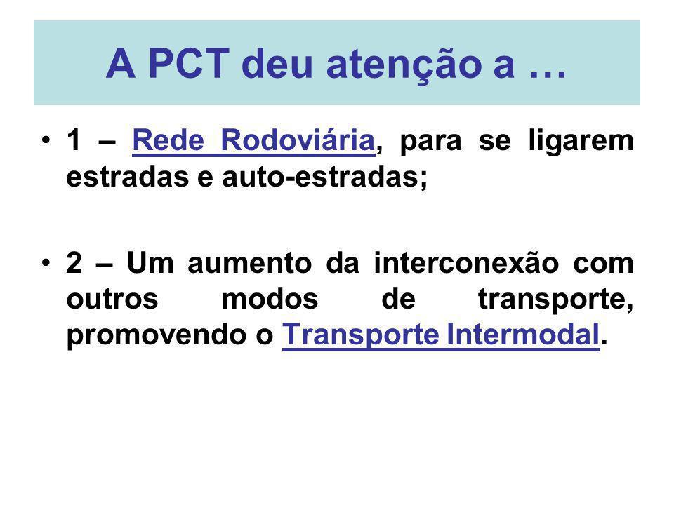 A PCT deu atenção a … 1 – Rede Rodoviária, para se ligarem estradas e auto-estradas; 2 – Um aumento da interconexão com outros modos de transporte, pr