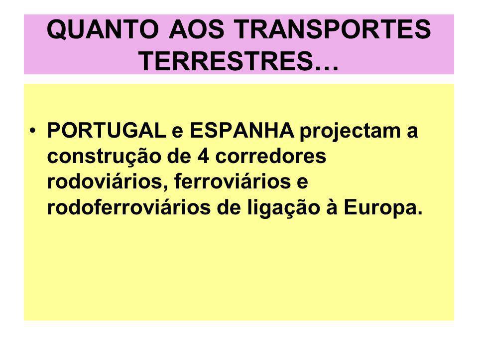QUANTO AOS TRANSPORTES TERRESTRES… PORTUGAL e ESPANHA projectam a construção de 4 corredores rodoviários, ferroviários e rodoferroviários de ligação à