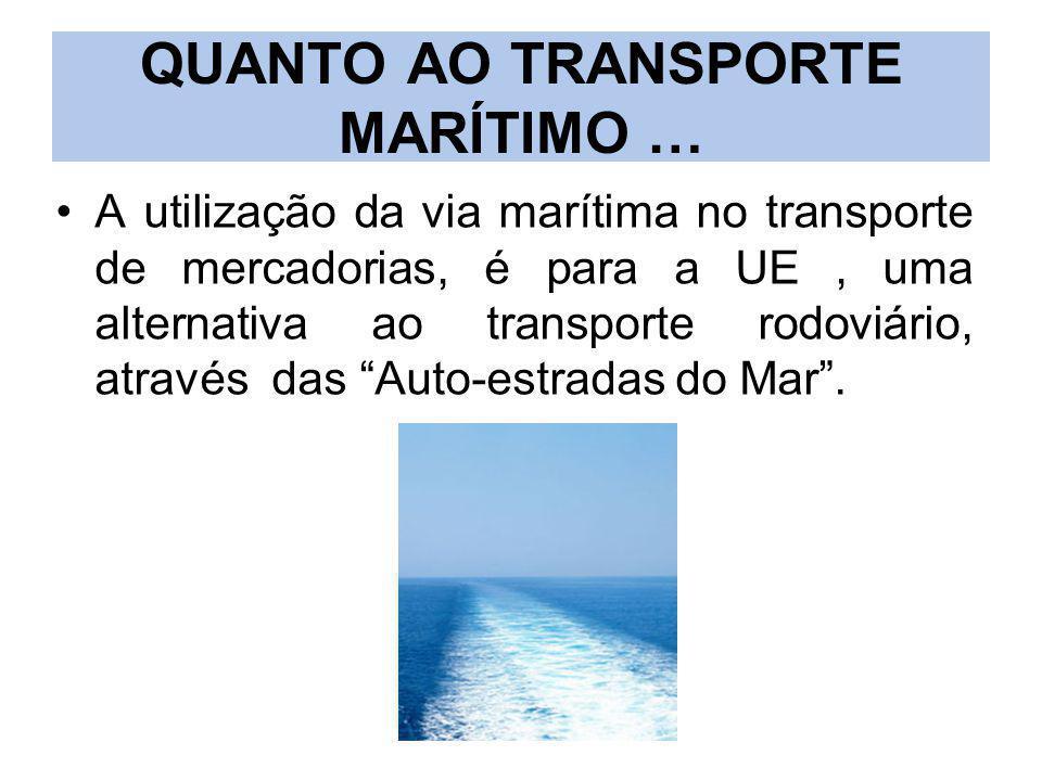 QUANTO AO TRANSPORTE MARÍTIMO … A utilização da via marítima no transporte de mercadorias, é para a UE, uma alternativa ao transporte rodoviário, atra