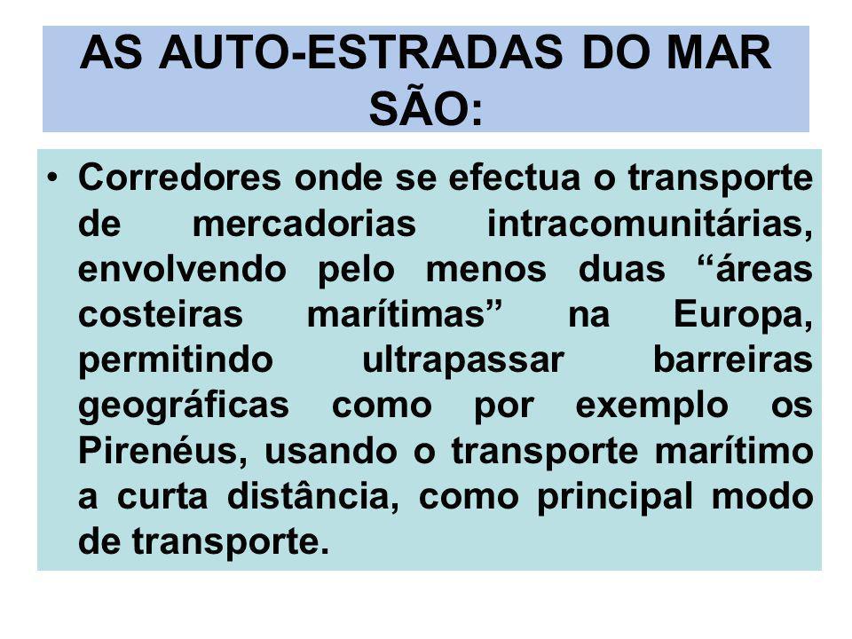 AS AUTO-ESTRADAS DO MAR SÃO: Corredores onde se efectua o transporte de mercadorias intracomunitárias, envolvendo pelo menos duas áreas costeiras marí