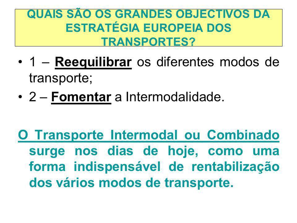 QUAIS SÃO OS GRANDES OBJECTIVOS DA ESTRATÉGIA EUROPEIA DOS TRANSPORTES? 1 – Reequilibrar os diferentes modos de transporte; 2 – Fomentar a Intermodali