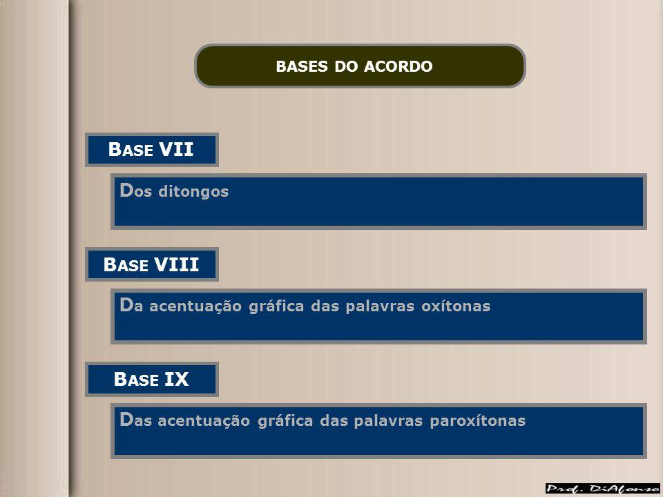BASES DO ACORDO B ASE VII D os ditongos B ASE VIII D a acentuação gráfica das palavras oxítonas B ASE IX D as acentuação gráfica das palavras paroxíto