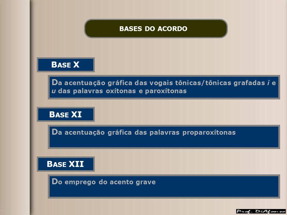 BASES DO ACORDO B ASE X D a acentuação gráfica das vogais tônicas/tônicas grafadas i e u das palavras oxítonas e paroxítonas B ASE XI D a acentuação g