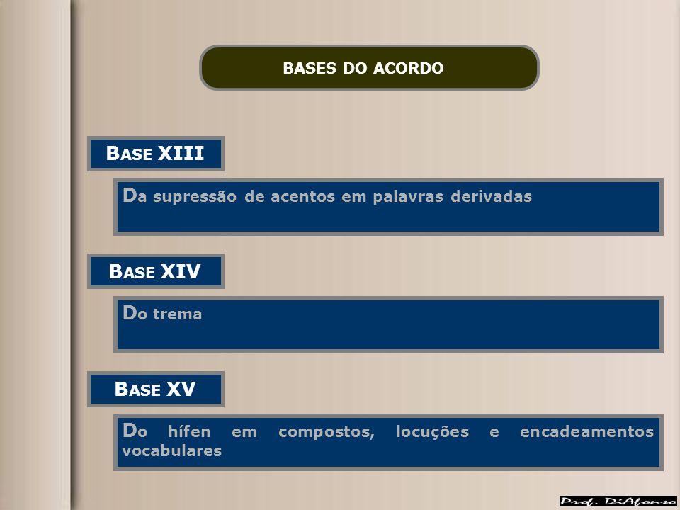 BASES DO ACORDO B ASE XIII D a supressão de acentos em palavras derivadas B ASE XIV D o trema B ASE XV D o hífen em compostos, locuções e encadeamento