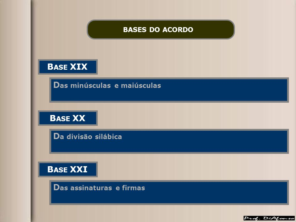 BASES DO ACORDO B ASE XIX D as minúsculas e maiúsculas B ASE XX D a divisão silábica B ASE XXI D as assinaturas e firmas