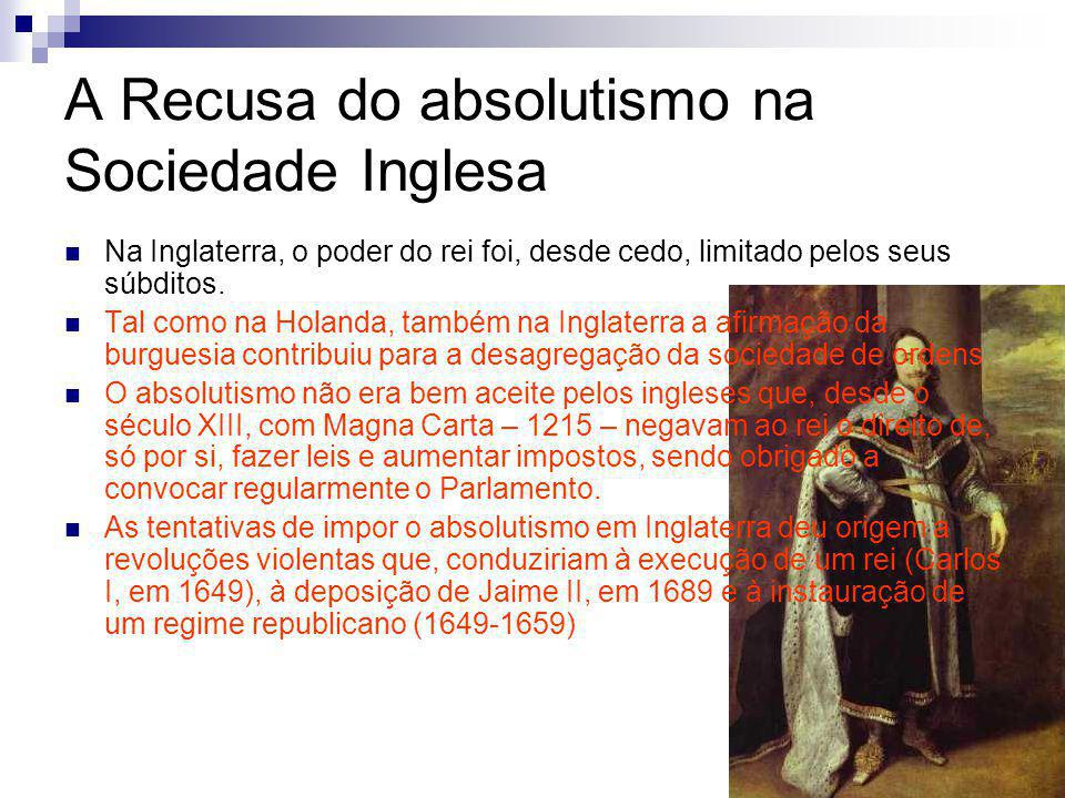 A Recusa do absolutismo na Sociedade Inglesa Na Inglaterra, o poder do rei foi, desde cedo, limitado pelos seus súbditos.