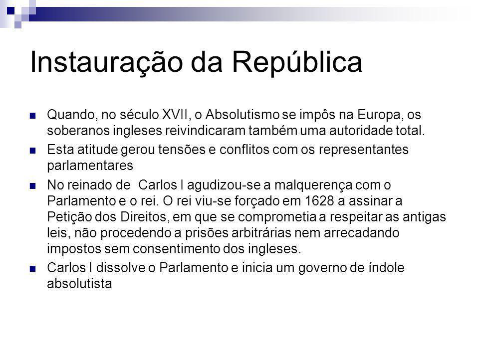 Instauração da República Quando, no século XVII, o Absolutismo se impôs na Europa, os soberanos ingleses reivindicaram também uma autoridade total. Es