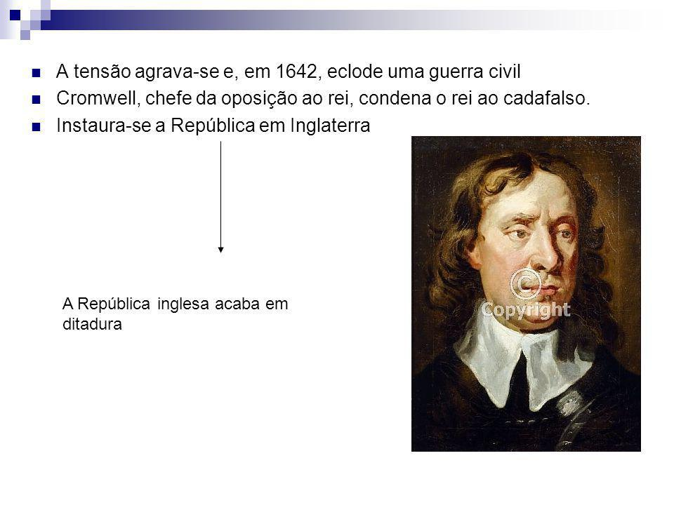 A tensão agrava-se e, em 1642, eclode uma guerra civil Cromwell, chefe da oposição ao rei, condena o rei ao cadafalso. Instaura-se a República em Ingl