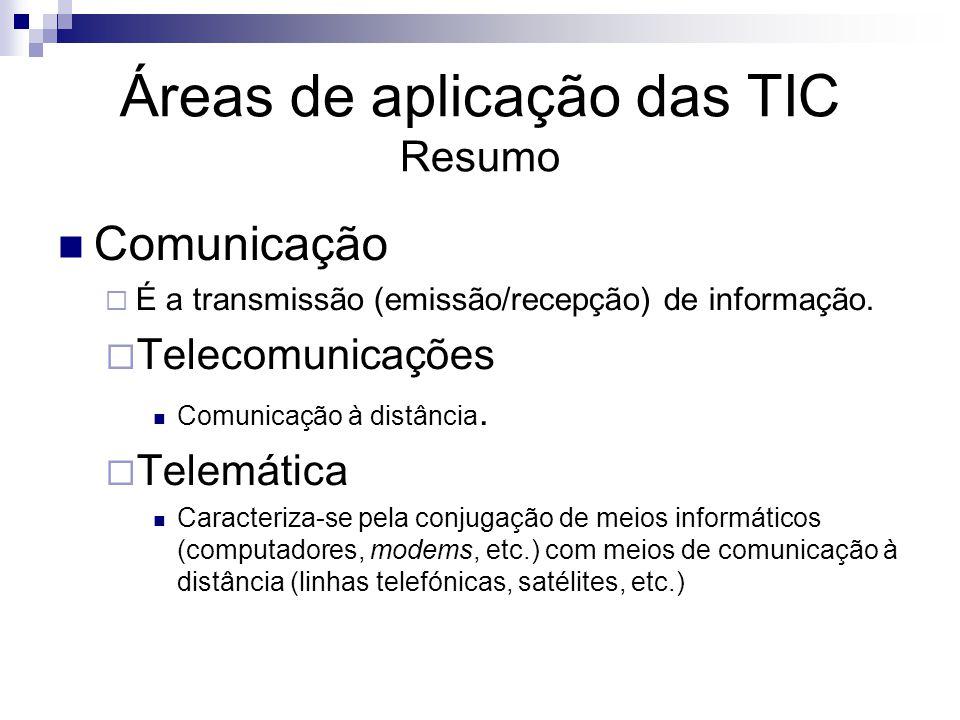 Áreas de aplicação das TIC Resumo Comunicação É a transmissão (emissão/recepção) de informação. Telecomunicações Comunicação à distância. Telemática C