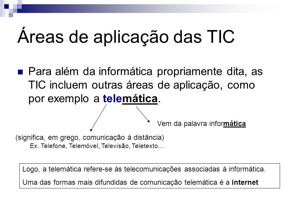Áreas de aplicação das TIC Para além da informática propriamente dita, as TIC incluem outras áreas de aplicação, como por exemplo a telemática. (signi