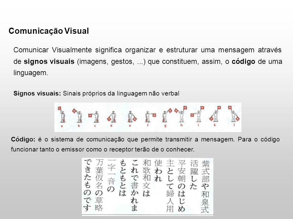 Comunicação Visual Comunicar Visualmente significa organizar e estruturar uma mensagem através de signos visuais (imagens, gestos,...) que constituem, assim, o código de uma linguagem.