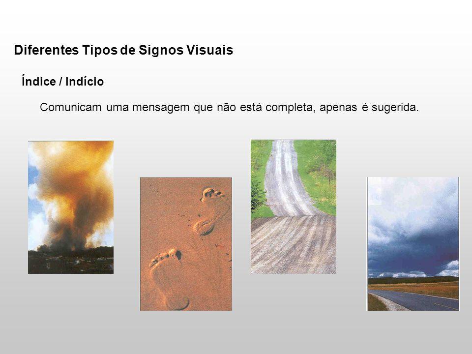 Diferentes Tipos de Signos Visuais Índice / Indício Comunicam uma mensagem que não está completa, apenas é sugerida.