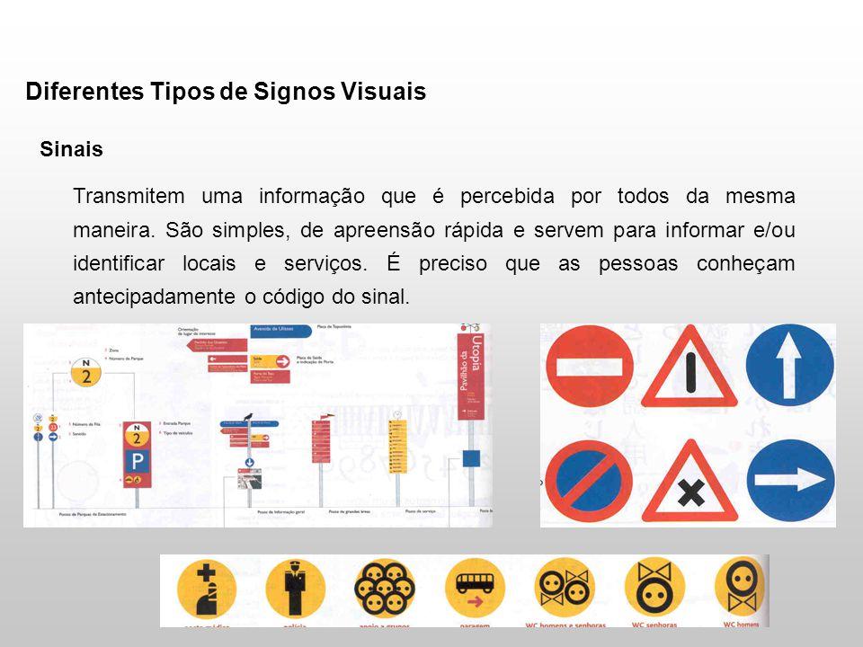 Diferentes Tipos de Signos Visuais Sinais Transmitem uma informação que é percebida por todos da mesma maneira. São simples, de apreensão rápida e ser