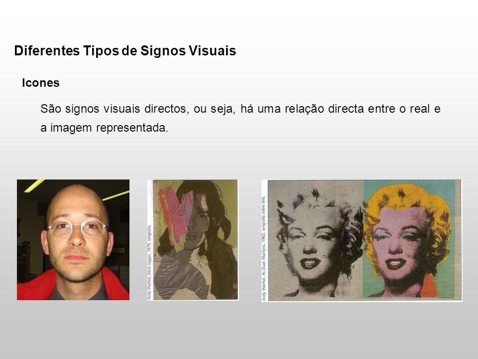 Diferentes Tipos de Signos Visuais Icones São signos visuais directos, ou seja, há uma relação directa entre o real e a imagem representada.